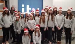 The youth cast performing at ITV Calendar over Christmas